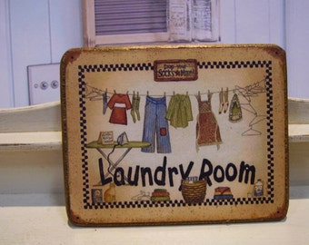 Laundry Miniature Wooden Plaque 1:12 scale for Dollhouses