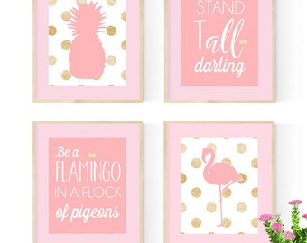 Pink flamingo nursery, Pink and gold nursery, Nursery Quad, set of 4 8X10, Choose your colors