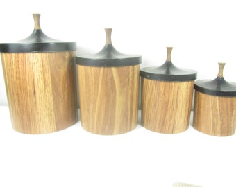 Retro canisters, vintage canister set, wood grain canister, storage,farmhouse kitchen , modern kitchen ,mid century ,
