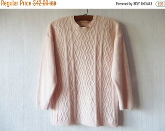 SALE Petal Pink Sweater Wool Angora Blend Cable Knit Women's Pullover Knitted Pale Pink Jumper Size Medium to Large