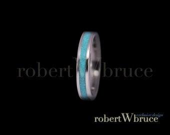 Turquoise & Titanium Ring / Wedding Band - Exclusive rWb Custom Design