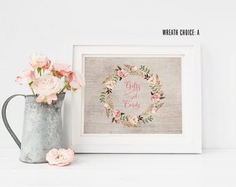 Bohemian Gifts and Cards Sign - Rustic Floral Wedding Cards Sign
