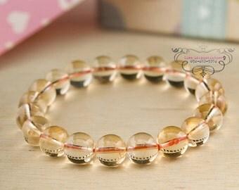Citrine bracelet 10mm beads | stretch beaded bracelet genuine semi precious gemstones | energy yoga reiki chakra healing jewelry