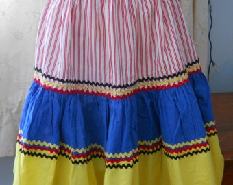 South of the Border~ Colorful Half Apron~ Primary Colors~ Red Yellow Blue ~ Vintage Rick Rack Apron ~  Hand Made