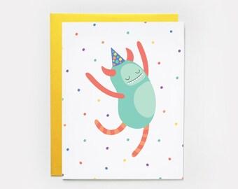 Birthday Card, Dancing Monster