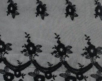 Black Floral Rain Double Border Scallop Cotton Lace Fabric by the bulk style 564-LACE-EMB-BLACK