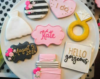 Kate Spade Inspired Bridal Shower Cookies / One Dozen