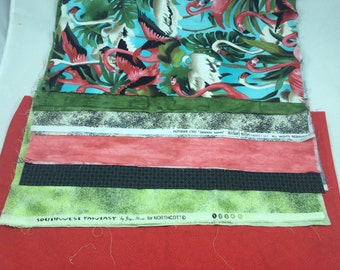 6 Fat quarters plus 1/3 yd red,  Michael Miller Flamingo and japanese leaves bundle; Out of print 100% cotton premium quilt fabric;