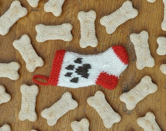 Paw Print Christmas Stocking Ornament  Pet Gift  Dog Ornament  Hand-Knit  *Available to Order*