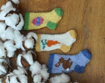 Bunny, Carrot & Easter Egg Hand-Knit Easter Stocking Ornaments - Set of 3
