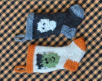 Halloween Frank & Mummy Hand-Knit Christmas Stocking Ornaments