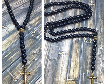 Mens rosary necklace, mens necklace, onyx necklace, beaded necklace, jewelry, gifts for him