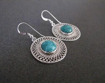 Eilat Stone earrings,Jewelry,Earrings, Silver earrings, Filigree earrings,Israeli jewelry,Yemenite jewelry,gifts from israel
