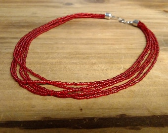 Silver lined Red Multistrand Seed Bead Necklace