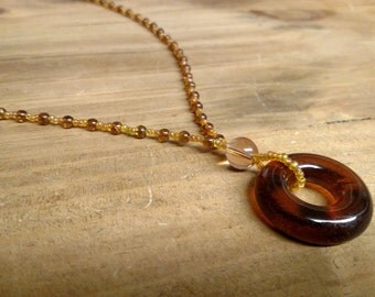 Recycled Orange Wine Bottle Top Necklace