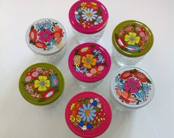 Quilted Crystal Jelly Jars with Groovy Floral Lids - set of 7