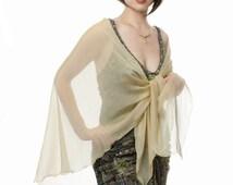 Promo Sale Pale Gold Silk Chiffon Shawl / Wrap