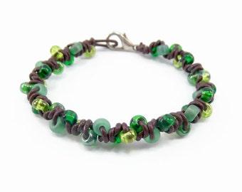 Leather Bracelet, Green Bracelet, Brown Bracelet, Leather Jewelry, Boho Bracelet, Bohemian, Arm Candy, Stackable Bracelet, Beaded Leather