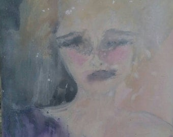 Original acrylic abstract painting woman female face with purple dress