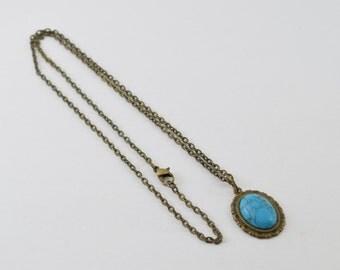 Turquoise Antique Bronze Pendant Necklace