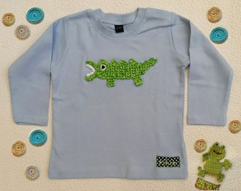 t-shirt for baby personalised with crocodile embroidery in sky blue cotton - long sleeve