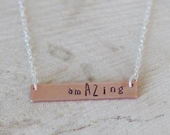 amAZing Necklace, Copper Bar Necklace, Copper amAZing Necklace, Horizontal Bar Necklace, Hand Stamped Bar Necklace, Arizona Necklace