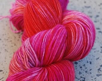 Hand dyed superwash merino nylon sock yarn