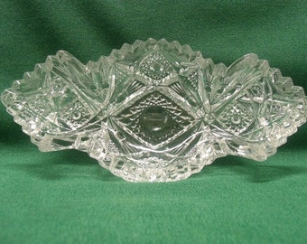 Imperial Relish Boat Pressed Pattern Glass Signed NUCUT / Candy Dish, Nut Dish