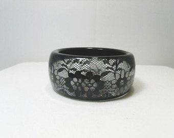 Black Lace Resin Bangle Bracelet / Vintage French Lace, Wide Cuff Bracelet