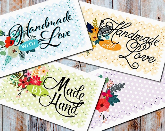 """Petite Fleur  Laundry Care & Gift Tags — 300 DPI – 2 x 3-1/2"""" – Vector PDFs/PNGs, Beautiful Printables —DIY Blanks and Icons Included"""