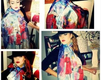 Hermes Inspired Silk Scarf-Handpainted Silk Scarf-Paris Inspired Silk Shawl-Handpainted Silk