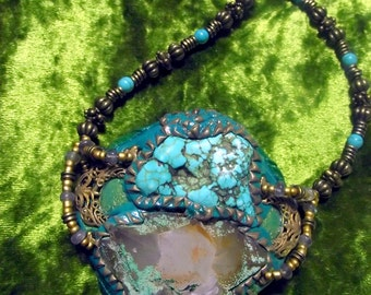 Necklace with Turquenita &  Quartz and Malachite