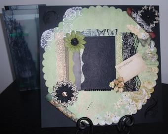 Pre-made 12 x 12 Scrapbook Layout, Romantic Floral Vintage