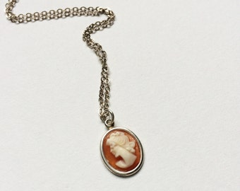 Tiny miniature silver cameo chain necklace - stacking, charm, pendant, antique style, resin, shell, sterling silver, gift, jewellery