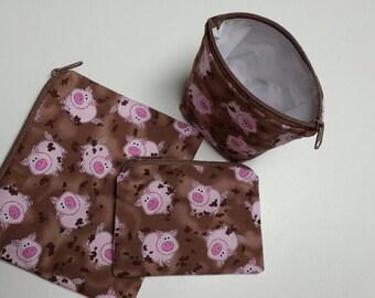 Reusable Sandwich Bag Set,Pigs Snack Bags,Farm Animals,Baggies Pigs,Make-Up Bags,Nylon Lining,Zipper Closure, Eco Friendly Bags, Snack Bags.
