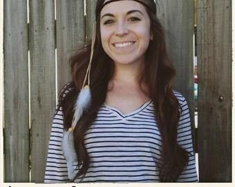 Black Boho Hippie Feather Headband