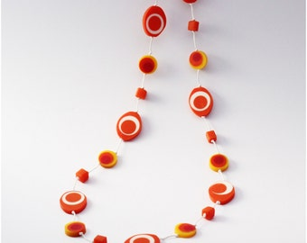 Orange Yellow Resin Bead Necklace White Waxed Cotton