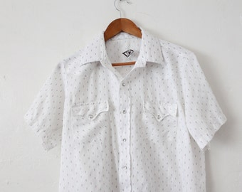 Men's LARGE Vintage 1970s Karman Made for Butler & Sons Phoenix Arizona Snap Button Up Short Sleeve Shirt