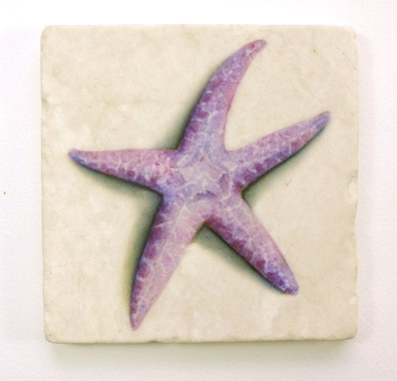 Starfish absorbent tumbled stone coaster original watercolor - Stone absorbent coasters ...