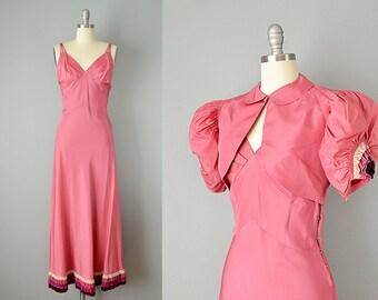 30s Dress // 1930s Deep Pink Silk Taffeta Gown w/ Tiered Velvet Trim & Matching Bolero // Small