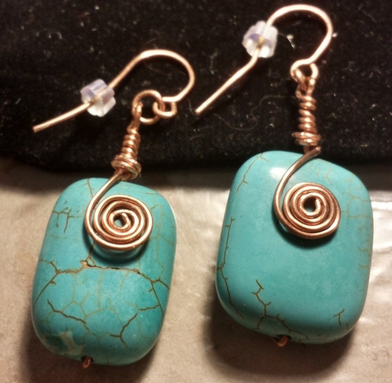 Turquoise Chunk Copper Wire-Wrapped  Earrings