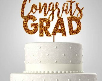 Congrats grad//graduation cake topper//glitter cake topper//ships in 1-3 business days