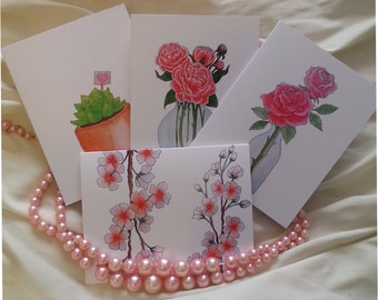 Watercolor Valentine's Day Note Card Set, Blank Greeting Cards, Set of 4 Cards, Thank You Cards, Birthday, Valentine's Day Cards, Love Gifts