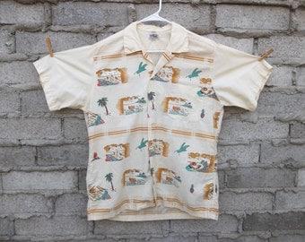 Vintage Tiki Shirt Classic Duke Kahanamoku Button Down South pacific 1960s Mid Century Mad Men sz fits Large Oversized