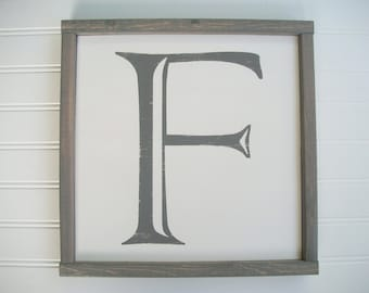 Capital Letter Sign .  Wall Letter . 12 1/2 x 12 1/2 .  Alphabet Sign . Family Sign . Wedding Gift . Gallery Wall . Letter F