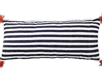 Moroccan Black and White Cotton Pom Pom Pillow