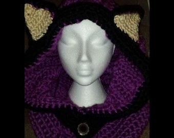 Fox cowl, super soft scarf, snood, hat, winter hood, Fox hat, Fox hood, pixie hat, pixie snood, crocheted fox hat