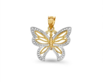 14k two tone solid gold butterfly pendant.