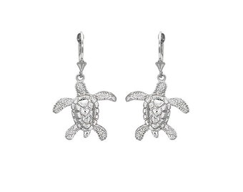 Sterling Silver lever back swimming Turtles earrings, turtle jewelry, turtle earrings, seaturtles