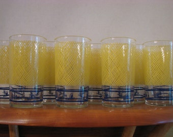 Vintage Set of 9 Glasses